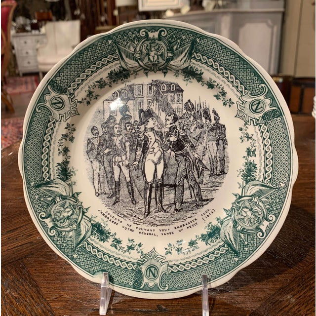 19th Century French Painted Napoleonic Sarreguemines Ceramic Plates-Set of 9 For Sale In Dallas - Image 6 of 13