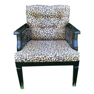 Leopard Print Upholstered Black Chairs- a Pair