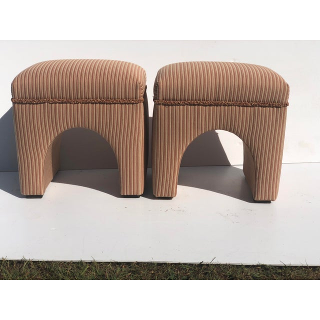1970s Vintage Waterfall Ottomans- A Pair For Sale - Image 9 of 9
