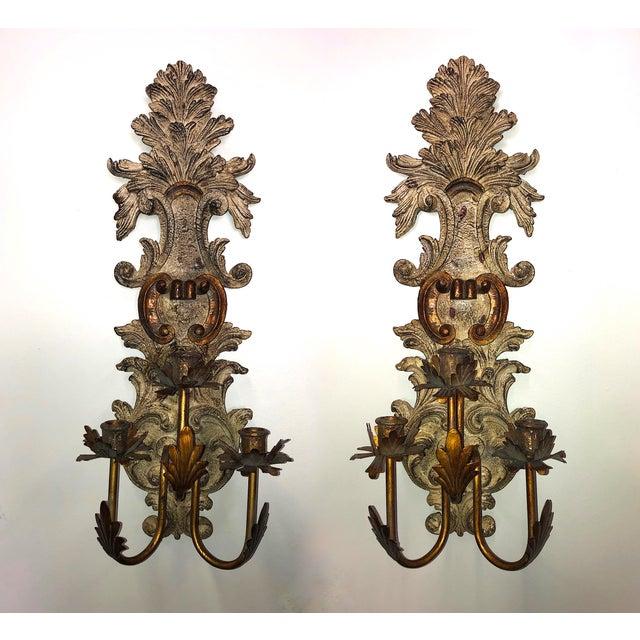 Vintage Mid-Century Cast Faux Bois Provincial Sconces - A Pair For Sale - Image 13 of 13