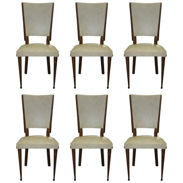Set of Six French Art Deco Solid Mahogany Dining Chairs, circa 1940s. - Image 4 of 10