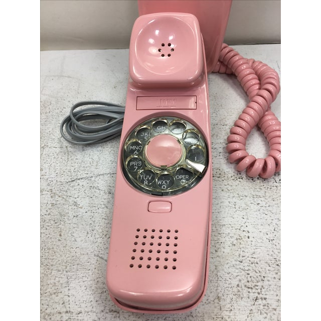 Mid-Century Modern ITT Rotary Trendline Pink Wall Telephone, 1969 For Sale - Image 3 of 11