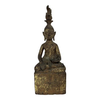 Antique Burmese Sitting Gilt Wood Shan Buddha (Myanmar) For Sale
