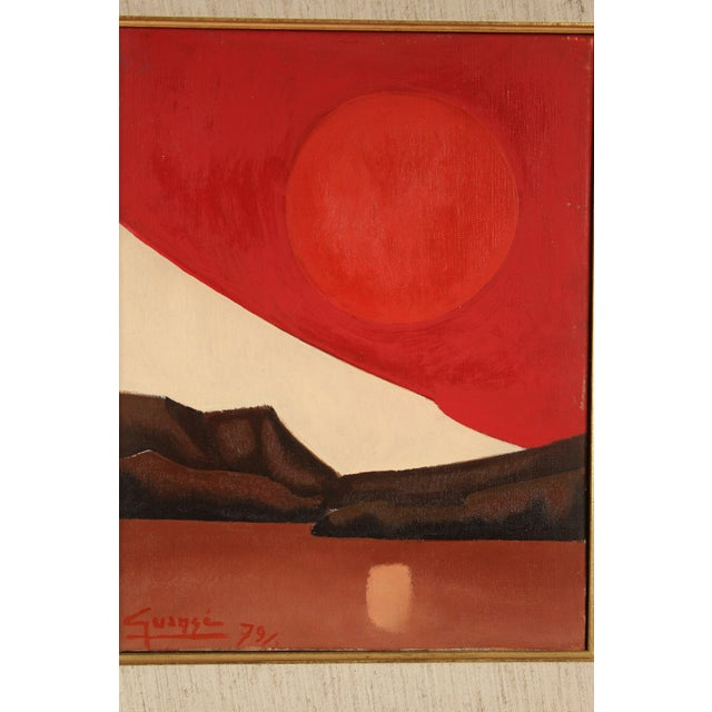 """Abstract painting with sun and mountains, by Spanish artist Antonio Guanse (1926-2008) titled on verso """"Horizon"""", dated..."""