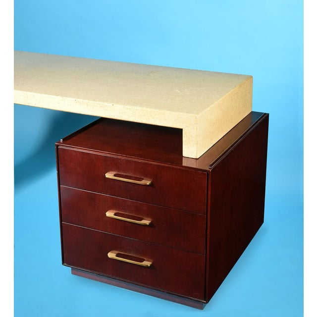 Mid-Century Modern Rare Paul Frankl for Johnson Furniture Cork & Mahogany Desk, 1950s For Sale - Image 3 of 7