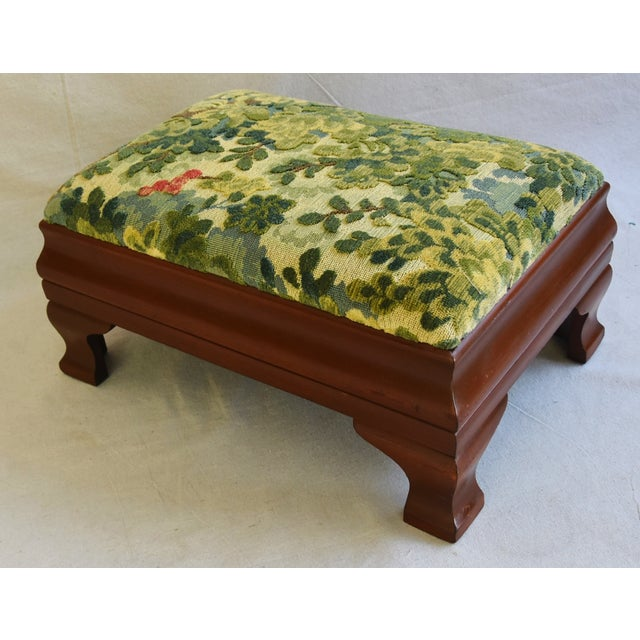 Early 1900s Foot Stool w/ Scalamandre Marly Velvet Fabric - Image 6 of 11