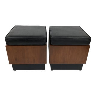 Mid Century Modern Walnut Cube Stools / Side Tables - a Pair