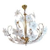 Image of Large Vintage Mid Century Italian Murano Flower Venini Art Glass Gilt Chandelier For Sale