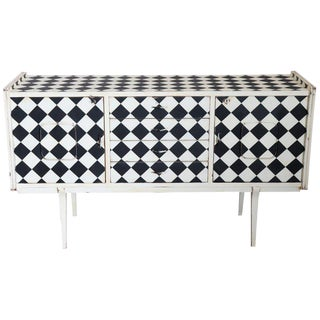 20th Century Italian Vintage Design Commode or Chest Painted Optical Kinetic Art For Sale