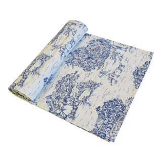 "Blue & Cream French Farmhouse Country Toile Table Runner 106"" Long For Sale"