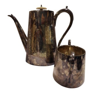 Antique Johnson & Durban Co. Silverplate Coffee / Tea Pot and Sugar Bowl - Set of 2 For Sale