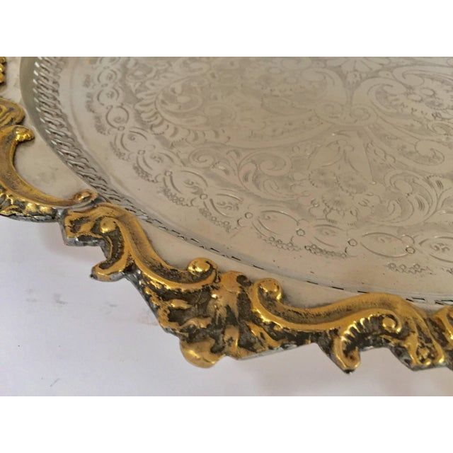 Moroccan Handcrafted Silver Round Tray With Brass Overlay Moorish Designs For Sale - Image 11 of 13