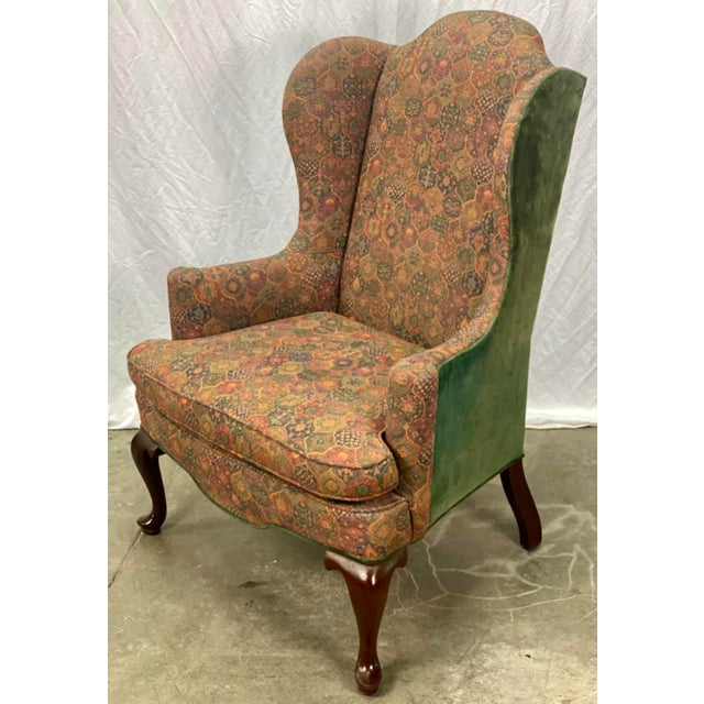 Vintage Mahogany Frame Chippendale Style Upholstered Wingback Chair For Sale - Image 11 of 11