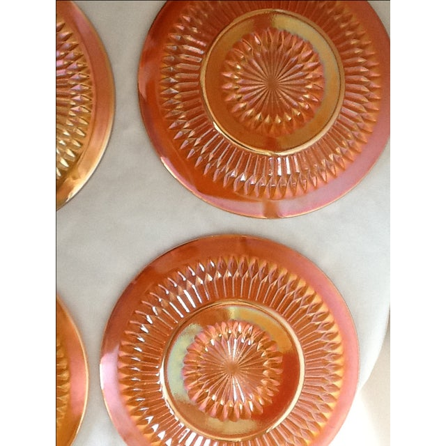 Marigold Iridized Carnival Glass Plates - Set of 6 For Sale In Phoenix - Image 6 of 6