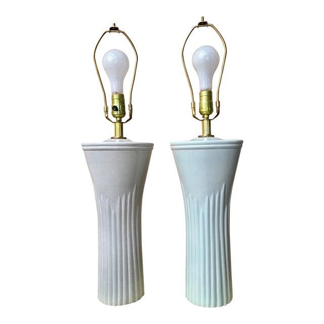 Art Deco Shades of Sea Foam Lamps - A Pair - Image 1 of 8