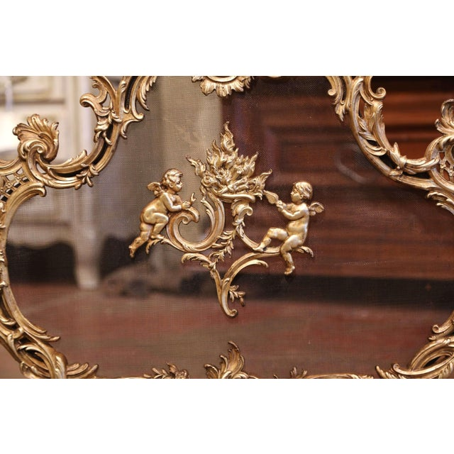 19th Century French Louis XV Carved Bronze Doré Fireplace Screen With Cherubs For Sale - Image 4 of 8