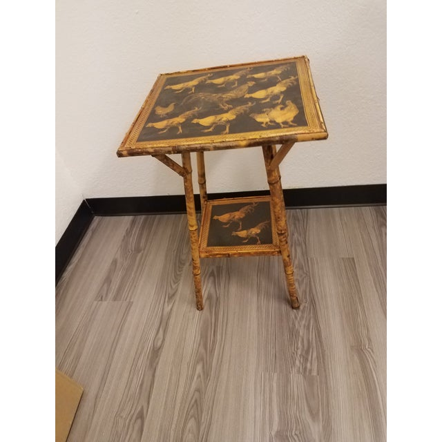 Black Antique Bamboo Table With Decoupage Roosters For Sale - Image 8 of 8