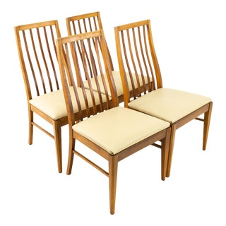 Lane First Edition Mid Century Walnut Highback Dining Chairs - Set of 4 For Sale