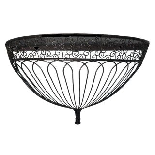 1990s Belle Epoque Style Demilune Metal and Wire Birdcage Inspired Wall Shelf Bracket For Sale