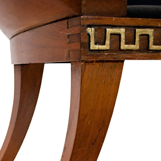 Mid 20th Century A North European Beech and Parcel-Gilt Klismos Chair with Greek Key Bordered Seat Frame For Sale - Image 5 of 7