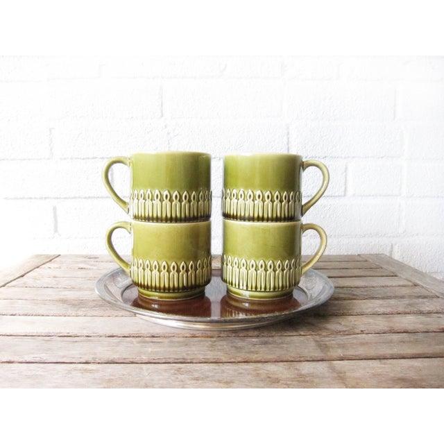 Green Drip Glaze Mugs & Tray - Set of 4 - Image 3 of 6