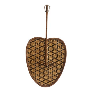 Mid-Century Wicker Fan Wall Art For Sale