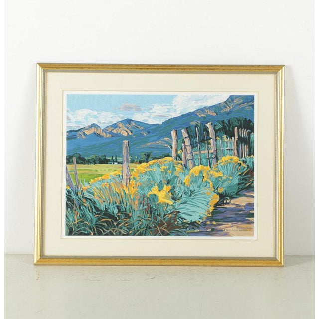 Signed serigraph by well listed Californian artist William Cather Hook. This screen print of a landscape depicts tufts of...