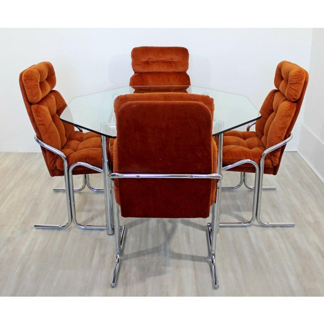 Mid-Century Modern Mid Century Modern Chrome Dinette Set 4 Side Chairs Octagon Glass Top Table 70s For Sale - Image 3 of 12