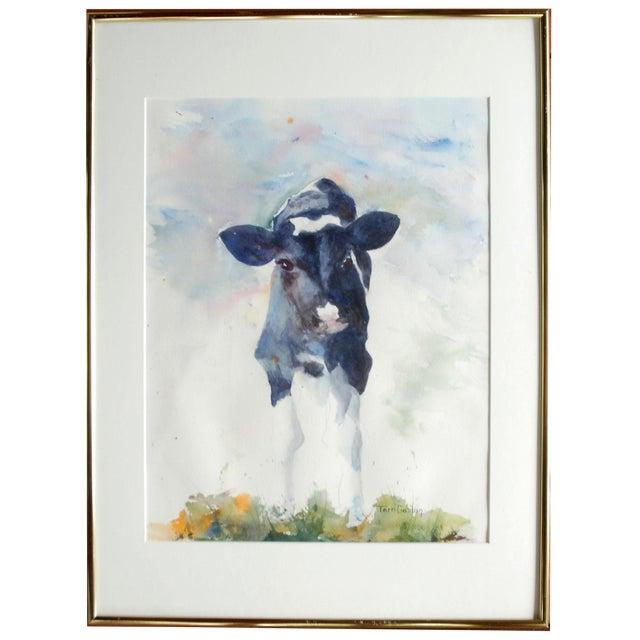 Originl Watercolor of Holstein Calf - Image 1 of 3