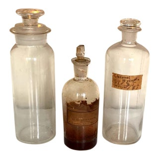 Antique Pharmacy Glass Bottles, Original Labels & Stoppers For Sale