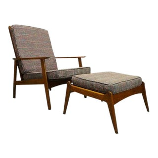 Multi Color Tweed Beechwood Highback Lounge Chair & Ottoman