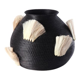 Fanned Out Large Bulbous Vase Black & Flax Fans For Sale