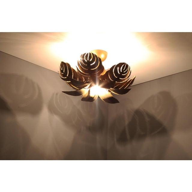Maison Jansen Regency Brass Palm Chandelier For Sale - Image 6 of 9