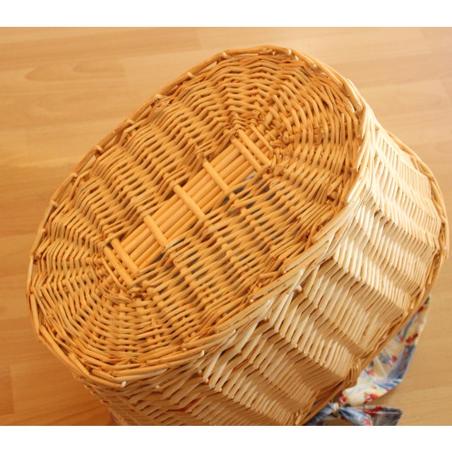 Wicker Vintage Handmade Braided Wicker Shopping Basket For Sale - Image 7 of 8