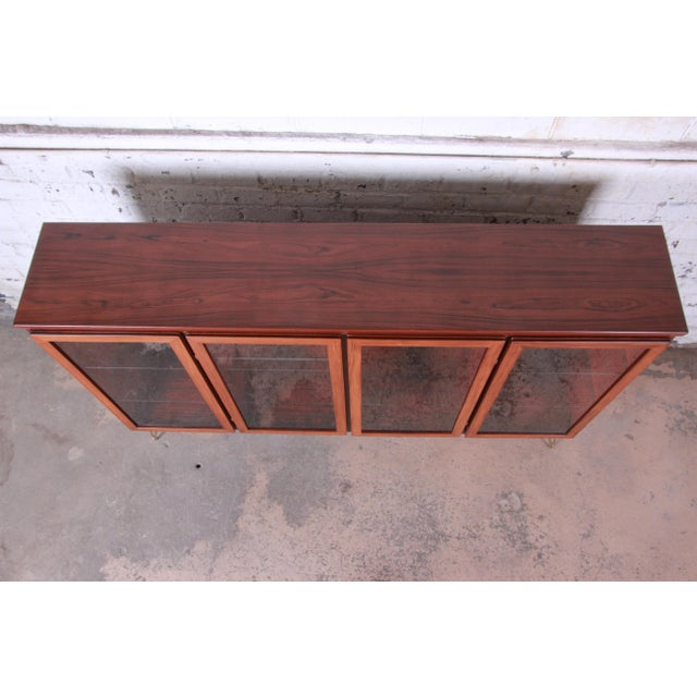 Brown Skovby Danish Modern Rosewood Glass Front Bookcase on Hairpin Legs For Sale - Image 8 of 12