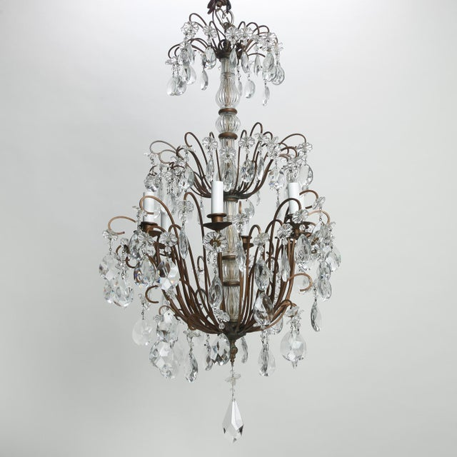 Italian Three Tier Crystal Chandelier with Dark Metal Frame For Sale In Detroit - Image 6 of 6