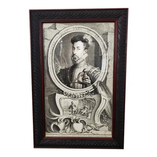 The Favorite of Queen Elizabeth Ist. Robert Dudley Earl of Leicester Etching Framed For Sale