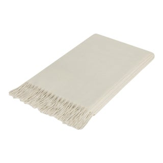 Curated Kravet Lusuosso Cashmere Throw - Ivory For Sale