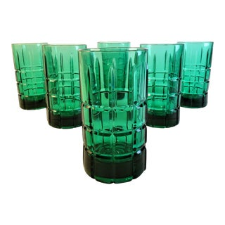 Mid-Century Emerald Green Tumblers - Set of 6