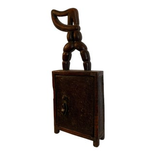 1940s Abstract Figurative Wooden Hand Carved Hanging Cabinet For Sale
