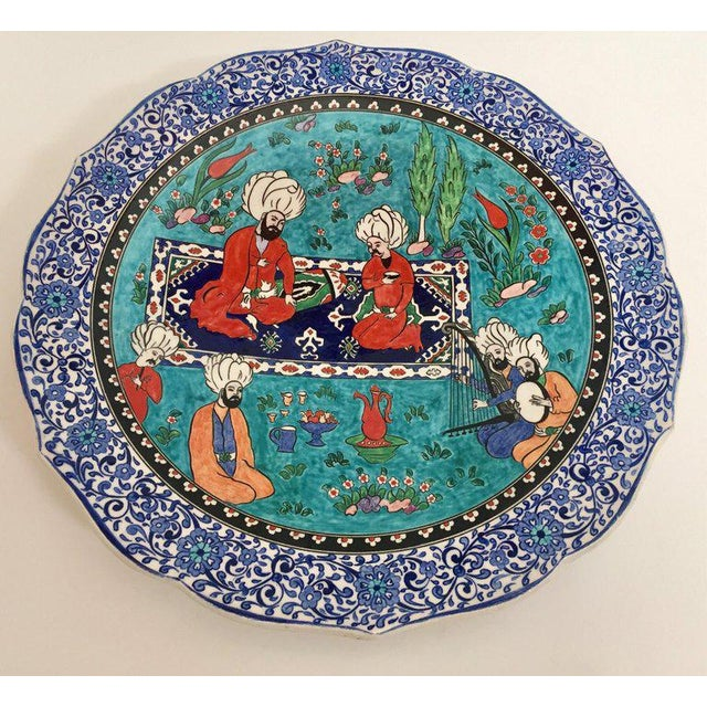 Large Turkish Ottoman Scene Polychrome Hand Painted Ceramic Plate Kutahya For Sale - Image 11 of 13