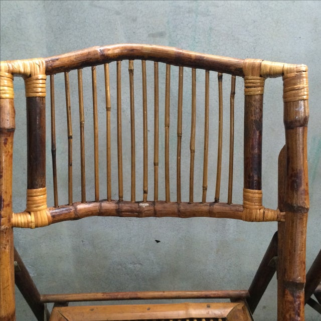 Bamboo Folding Chairs - Set of 4 - Image 7 of 11