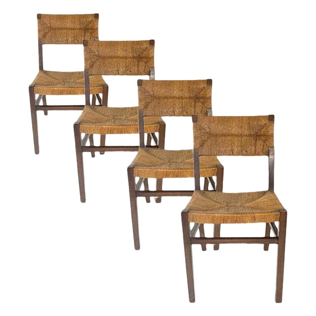 Set of 1950s French Countryside Woven Rush Seat & Back Chairs For Sale