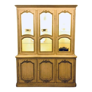 "Custom Quality ""Baker"" Cream and Gilt Distressed China Cabinet Oak Lined For Sale"
