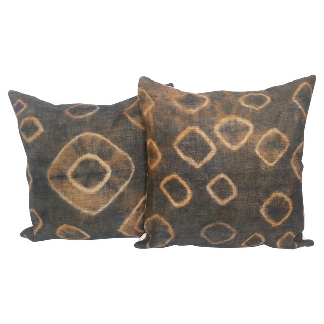African Gray Tie Dye Kuba Cloth Pillows - A Pair - Image 1 of 5