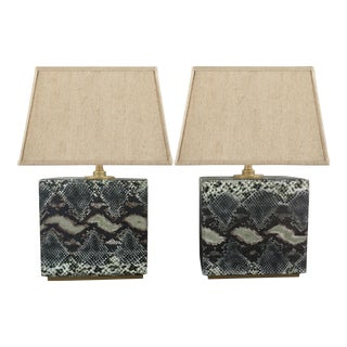 1980s Faux Snakeskin Table Lamps - a Pair For Sale