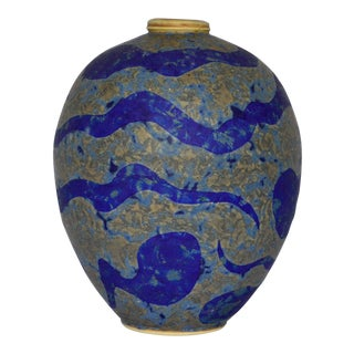 Modernist Pottery Vase in Vibrant Purple Glaze For Sale