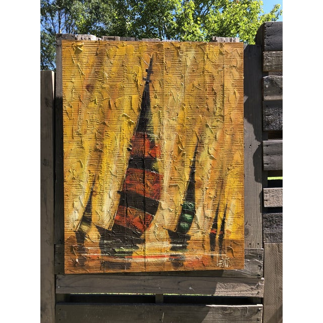 Paint Mid-Century Regatta Painting on Plank Boards For Sale - Image 7 of 7