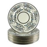 Image of Johnson Brothers Art Deco Silver Blue Dinner Plates - Set of 11 For Sale
