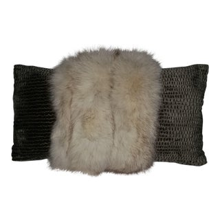 Contemporary White Fox and Silvery Green Pillow For Sale